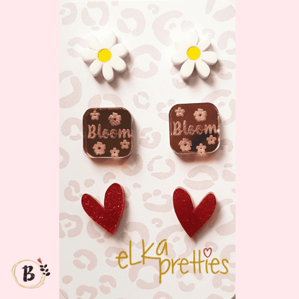 Bloom trio stud earrings